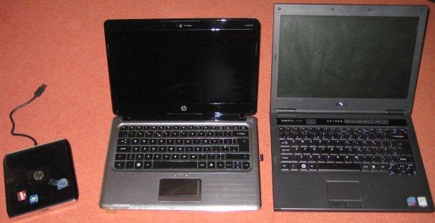 New HP dm3-1020ea (centre) versus Dell Vostro (right)